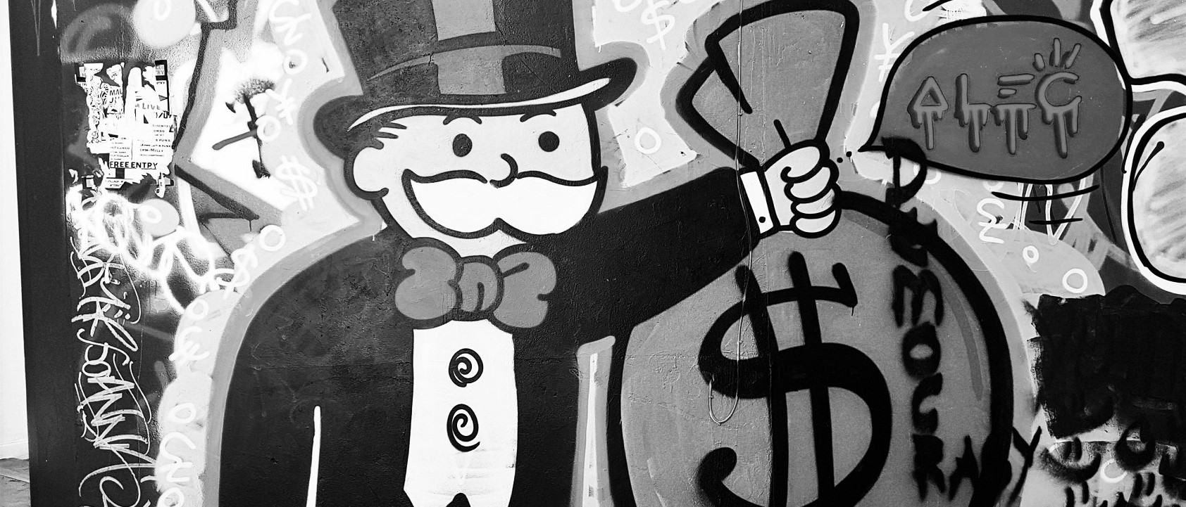 Death & Taxes Money Bags Mr. Monopoly Alec Monopoly Landscape